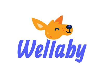 Wellaby.ca Logo creative branding vector face simple design sweet cute character cartoon illustration flat funny australia animal kangaroo wallaby mascot brand logo