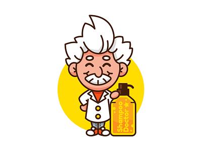 Shampoo Doctor Logo Mascot sticker character modern cute cartoon outline logo digital graphic science scientist vector illustration flat einstein funny mascot doctor