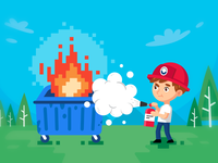 Dumpster Fire Security Company Illustration