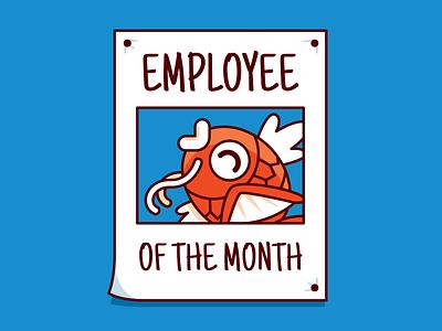 Employee of the month paper outline splash pokédex cool smile pokémon go employee office studio design creative vector cartoon flat character magikarp funny pokémon illustration