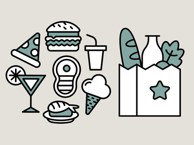 Food Icons Design ui menu drink outline icon set minimal design shopping bag illustration vector flat cartoon steak burger pizza sushi food ice cream icons