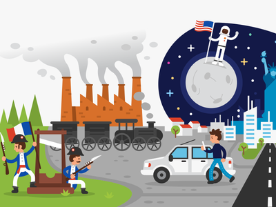 Nacely Webpage - Human History illustration 4/5 moon landing train humanity modern history homepage webpage colorful night space statue of liberty french industry moon design vector ui flat cartoon illustration
