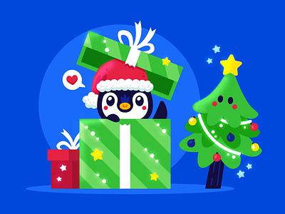 Christmas Time! clipart graphic santa claus merry christmas gift box holiday kawaii sweet mascot vector gift penguin christmas tree christmas cute animal funny flat cartoon illustration