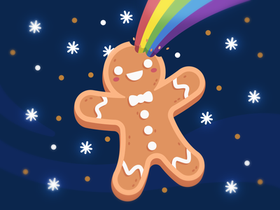 Merry Magic Christmas! fantasy magic jingle bells delicious tasty sweet kawaii santa claus merry christmas merry xmas biscuit gingerbread rainbow vector character funny flat cartoon mascot illustration