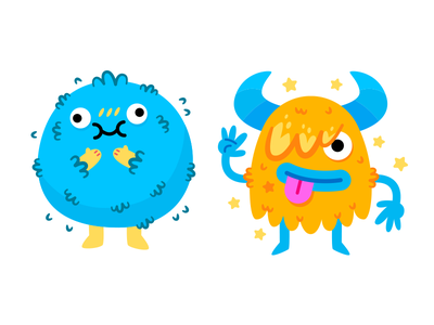 Silly Monsters childrens illustration kawaii emoticon emoji sweet digital silly quirky creature monster furry chubby vector cute character funny flat cartoon mascot illustration