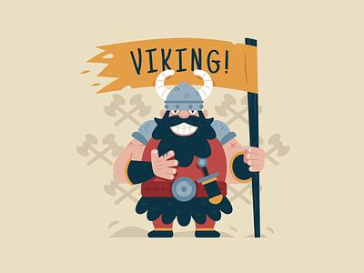Viking! graphic strong scandinavian mythology man nordic clipart pirate flag history warrior viking vector character logo funny flat cartoon mascot illustration