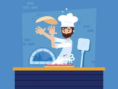 Pizzeria - Cooking Pizza chef character design meal food creative funny cartoon pizza box pizza logo art artwork bakery mascot illustration flat digital character italy pizzeria pizza
