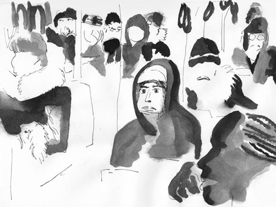 Black watercolor portrait of people on bus