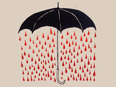 Vampire Blues umbrella logo umbrella rain blood horror silkscreen graphic modern bold symbol