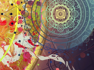 Chaos in Order illustration mixed media geometric organic abstract colors