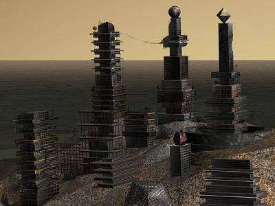 Distopian city WIP dystopian colors ruined
