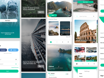 Travel app ui kit user interface ui project figma adobe creative could ui kit travel app application android ios dailyui uixi information architect interaction product design ui