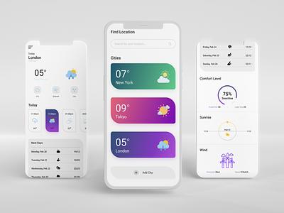 Weather app ui design ux ui interaction web product design adobexd weather app uix design inspiration mobile app ios animation