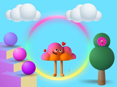 3D WORLD beautifulvisualization plesant rainbow vectorcharacter 3dcharacter digitalart photoshop design design art 3dworld graphic design 3d