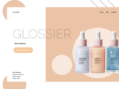 Glossier Product Fictional Landing Page minimalism aesthetic practice glossier dailyui ui design