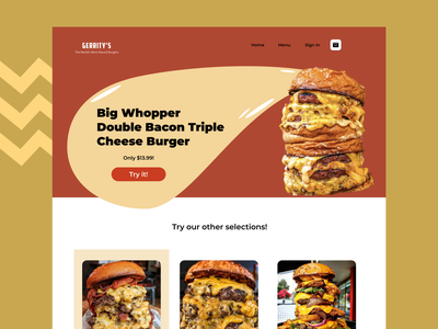 Fictional Ridiculous Burger Restaurant food website burger food ui food dailyui ui design