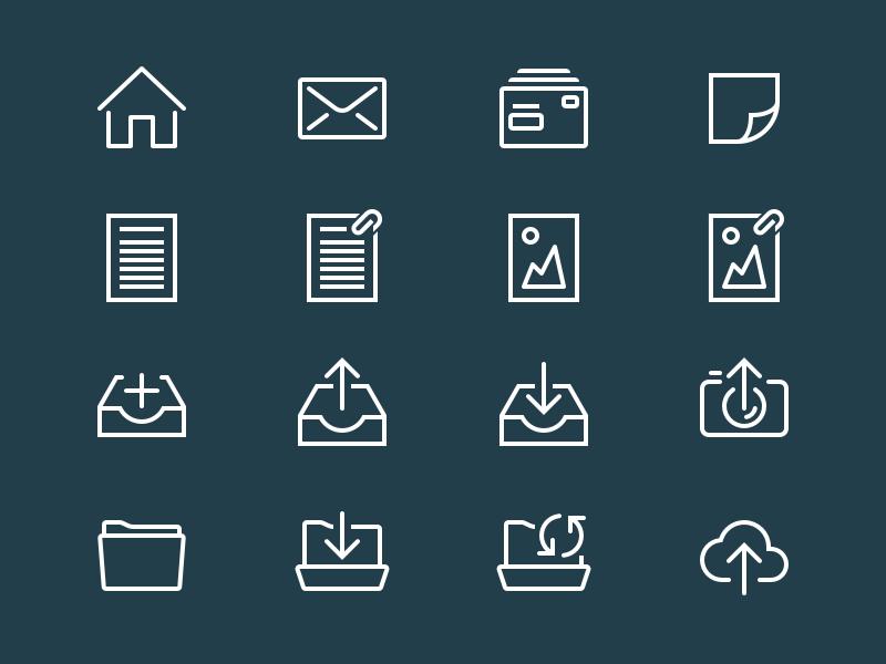 UI icons for the e-Boks app. mail storke simple first app danish eboks icons ui