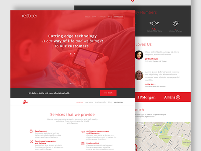 Redbee Website - real pixel ux ui redesign single page design argentina clean red website