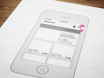 Fashion eCommerce Concept - iPhone wireframes