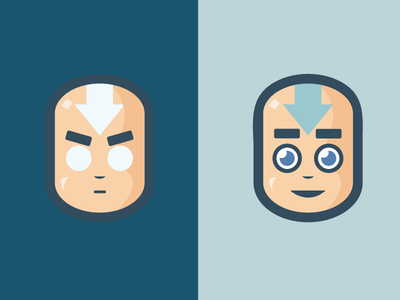 Aang illustration. round big heads avatar state last airbender avatar