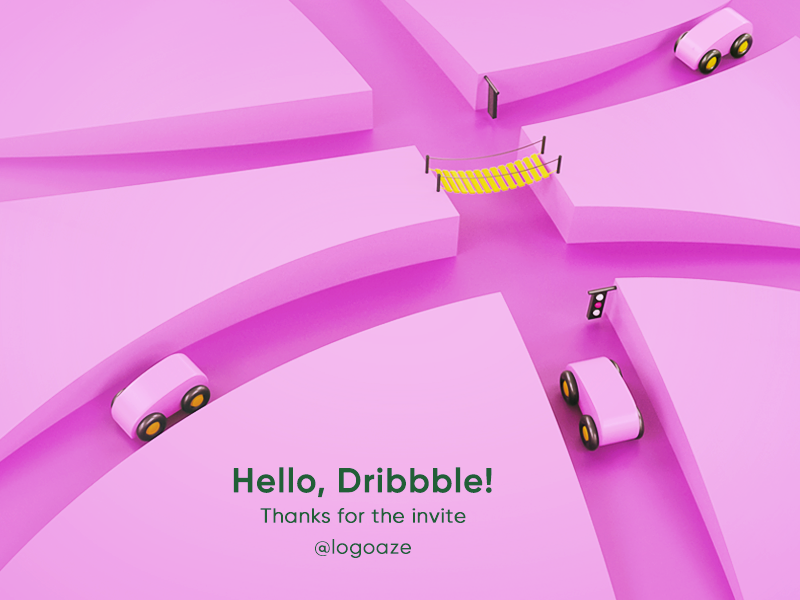 Hello, Dribbble! low poly lowpoly isometric debut first dribbble car toy way pink invite hello