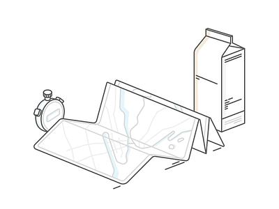A chronometer, a map and a milk box chronometer map milk box line liny manhattan