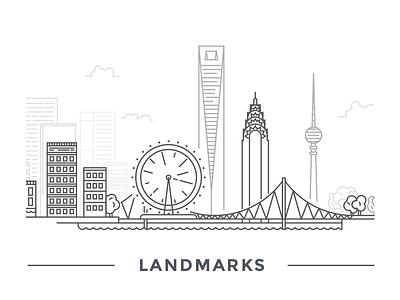 Landmarks landmark chrysler building berlin istanbul bridge london eye shanghai line