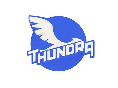 Thundra flat simple wing badge logo blue bird vector thundra