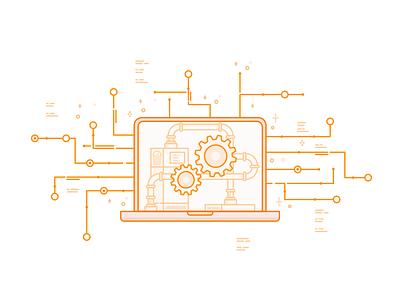 Steam Powered API electronic request machine orange line pc computer vector steam powered power steam api