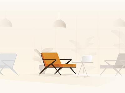 Chair interior lamp orange illustration vector chair