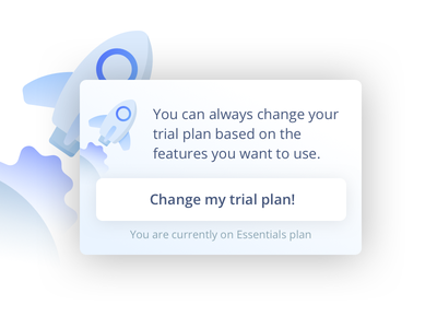 Change Trial Plan Section shuttle sky blue button pricing space rocket vector illustration