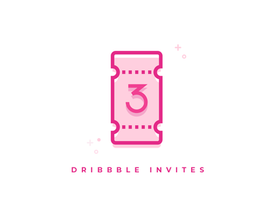 3x Dribbble Invites simple pink line vector draft invite dribbble
