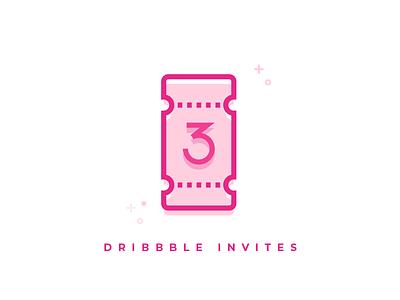 3x Dribbble Invites simple pink line vector draft invite dribbble