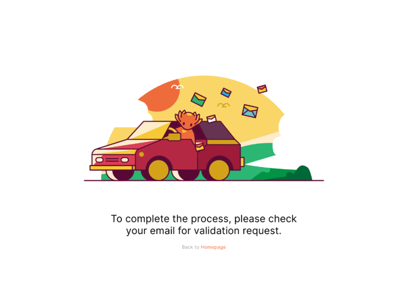 Email Confirmation Illustration message cute sharedhere axolotl transportation empty state email email confirmation car character illustration