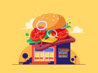Burger Shop Illustration flat splash cheese store tomato design building hamburger website illustration shop burger