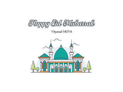 Happy Eid Mubarak ^_^ islam muslim soft cloud line simple akbar al mosque mubarak eid happy