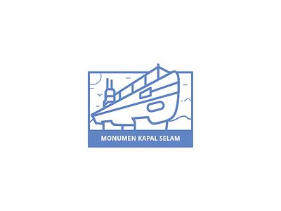 Monumen Kapal Selam Landmark indonesia surabaya logo icon landmark selam kapal monumen