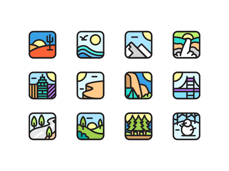 Environment Icons nature city hill mountain jungle desert app icon icon environment