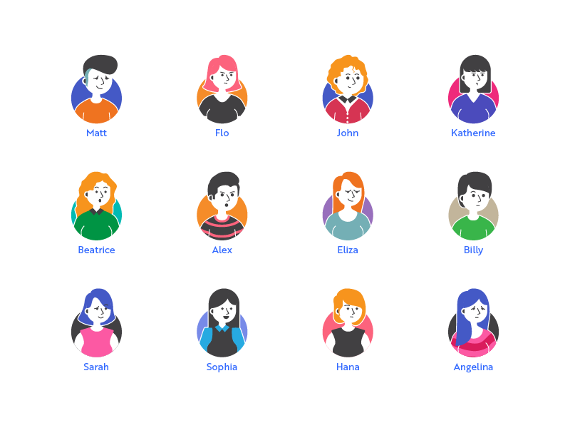 Avatar Icon Set icon set simple icon various expression girl man emoji people character avatar