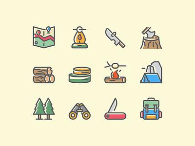 Adventure and Survival Icon Set icon set icon jungle camp treasure journey survival adventure