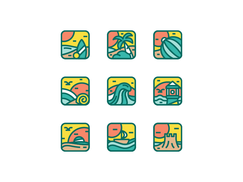 Beach Icons surfing wave vacation holiday summer set icon beach