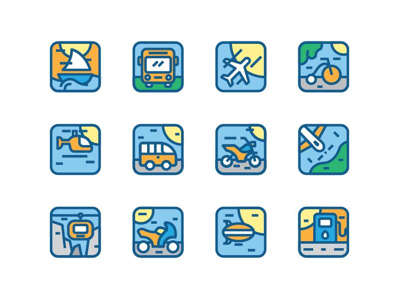 Transportation icon app bicycle bus vehicle transportation icon set icon illustration