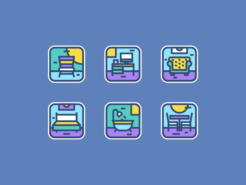 Furniture couch wardrobe chair icon app furniture icon set ui illustration icon
