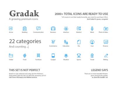 Gradak - a growing premium icons