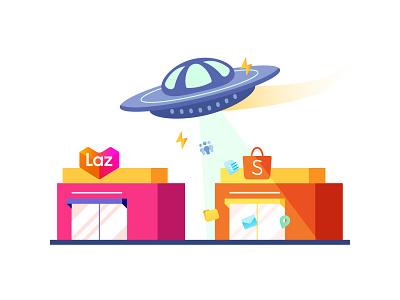 Scraping e-commerce sites illustration shopee lazada ufo ecommerce scraping alien flying saucer store illustration