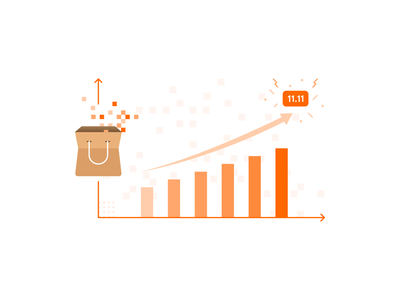 Data growth illustration data visualization 11.11 shop online shop ecommerce shopping growth metrics scraping data illustration