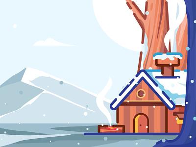 The Winter Chill illustration hiking smoke mountain juice snow village wood house jungle chill calm christmas home winter illustraion