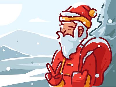 The Winter Santa new year gift snow ice nature jungle christmas tree winter santa clause christmas card illustration