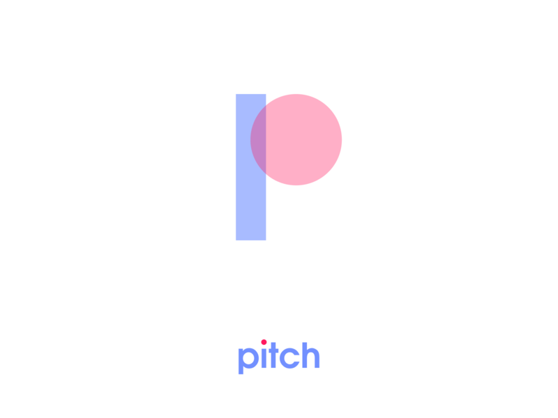 Pitch logo color magazine typography branding character minimalism overlap overlay letter p brand colorful logo