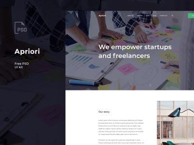 Apriori PSD template startup colorful text post article corporate agency blog theme psd template ui-kit ui kit freebies freebie free